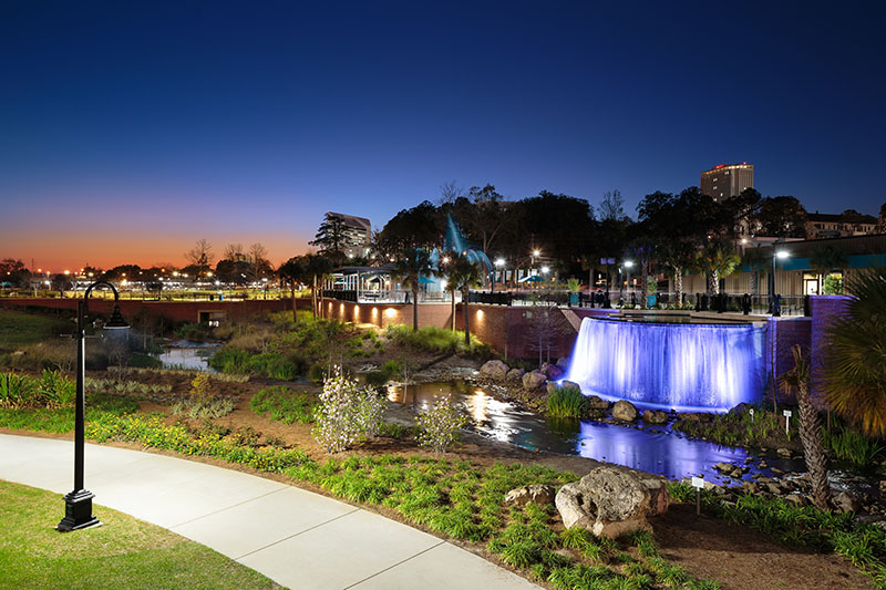 Cascades Park fountain at night